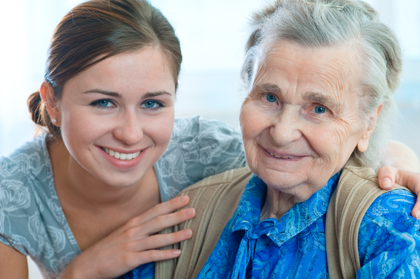 girl assisting elderly