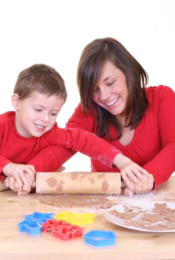 mother baking with child